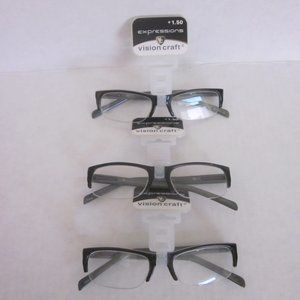 Foster Grant Expressions Reading Glasses +1.50 3pr